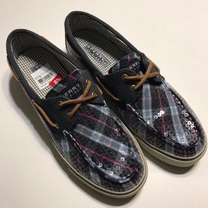 SPERRY Top Sider Bahama Blue Plaid Sequin Shoes